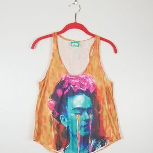 Playera Pop Frida Kahlo Watercolor Tank Top Medium
